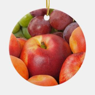Frutas frescas adorno navideño redondo de cerámica