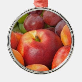 Frutas frescas adorno navideño redondo de metal
