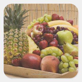 Frutas frescas pegatina cuadrada