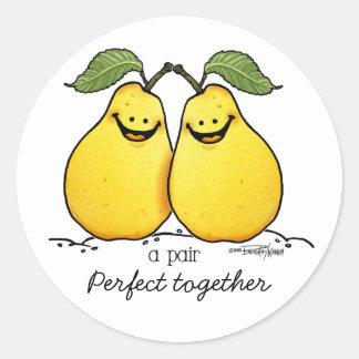 Frutas gemelas - pares perfectos etiquetas redondas