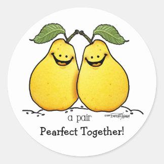 Frutas gemelas - pares perfectos etiqueta redonda