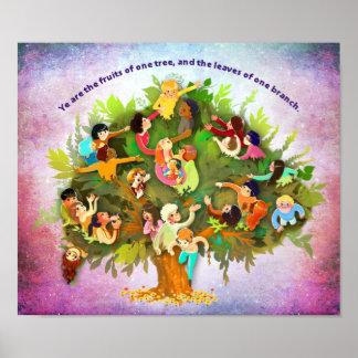 Frutas un árbol póster