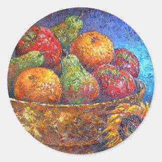 Frutas y arte de la pintura del girasol - multi etiqueta redonda