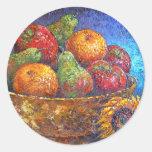 Frutas y arte de la pintura del girasol - multi pegatina redonda