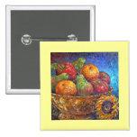 Frutas y arte de la pintura del girasol - multi pin cuadrado