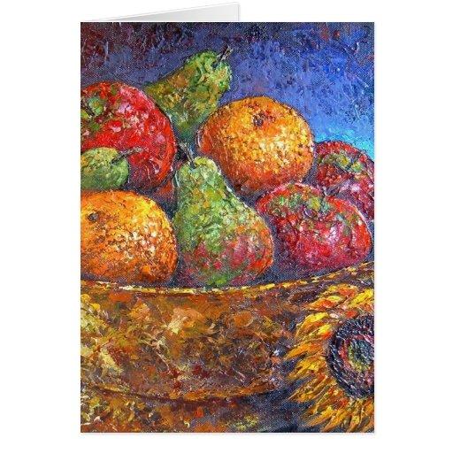 Frutas y arte de la pintura del girasol - multi tarjeta de felicitación