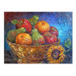 Frutas y arte de la pintura del girasol - multi postales