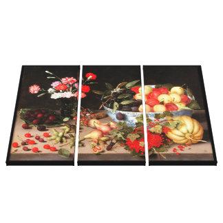 Frutas y flores coloridas de Peter Binoit Lona Envuelta Para Galerias