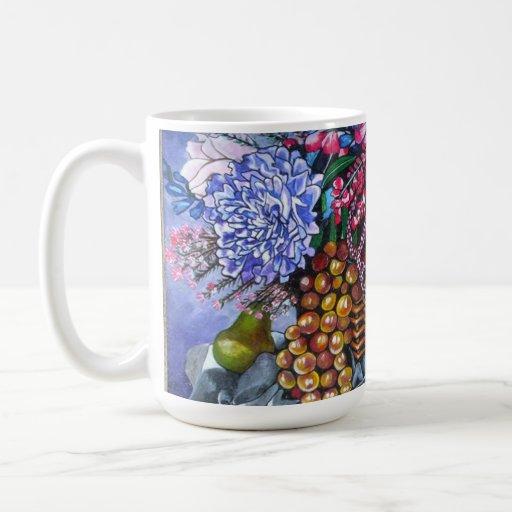 Frutas y flores plásticas taza