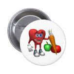 Frutas y Veggies del corazón de la Botón-Salud Pin