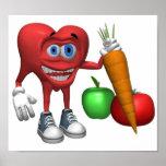 Frutas y Veggies del corazón de la Comida-Salud Posters