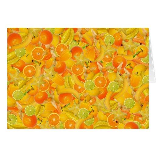 Frutas y verduras amarillas y anaranjadas tarjeta de felicitación
