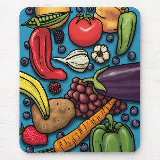 Frutas y verduras coloridas en azul alfombrillas de ratones