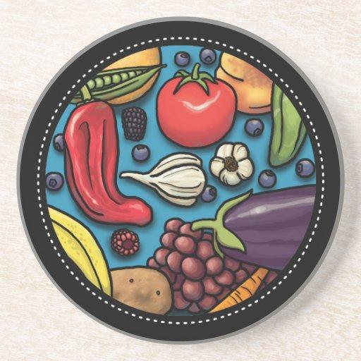 Frutas y verduras coloridas en el práctico de cost posavasos personalizados