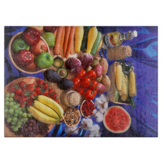 Frutas y verduras coloridas tabla para cortar