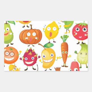 Frutas y verduras con la cara pegatina rectangular