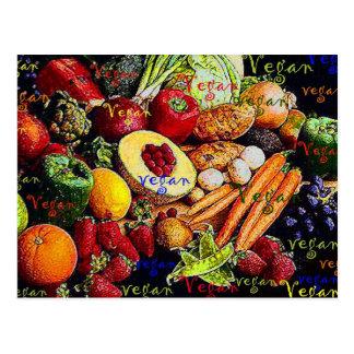 Frutas y verduras del vegano tarjetas postales