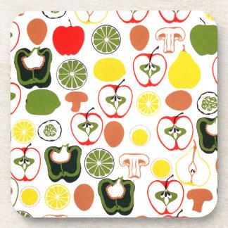 Frutas y verduras retras de los años 50 posavasos