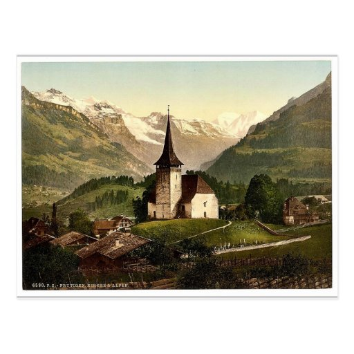 Frutigen, church and Alps, Bernese Oberland, Switz Postcard