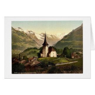 Frutigen iglesia y montañas Bernese Oberland Sw Tarjetón