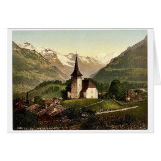 Frutigen iglesia y montañas Bernese Oberland Sw Tarjetas