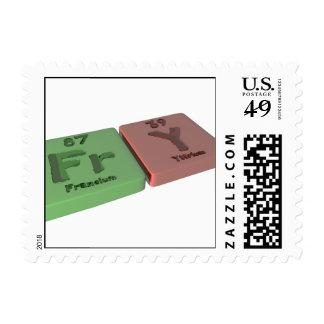 Fry as Fr Francium and Y Yttrium Stamp