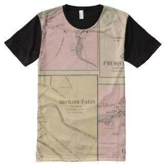 Ft Fairfield, Presque Isle, Caribou Map All-Over-Print Shirt