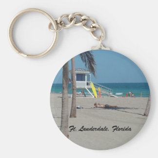 Ft Lauderdale Beach Lifeguard Stand Basic Round Button Keychain