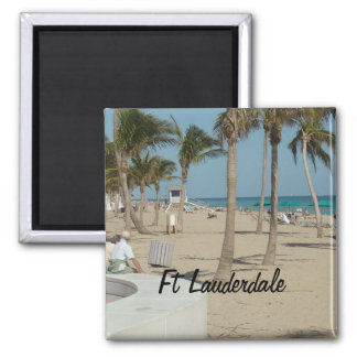 Ft Lauderdale Beach 2 Inch Square Magnet