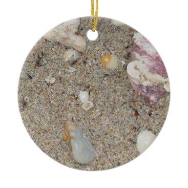 Beach Themed Ft. Lauderdale Beach Sand and Shells Ceramic Ornament