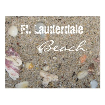 Beach Themed Ft. Lauderdale Beach Sand and Shells Postcard