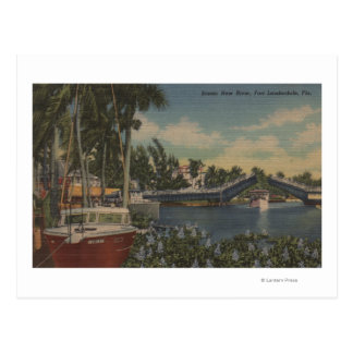 Ft. Lauderdale, FL - New River View & Drawbridge Postcard