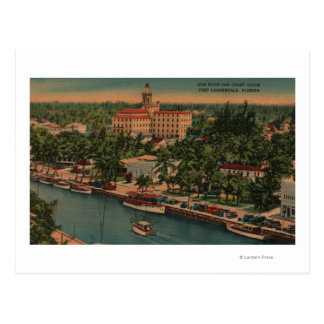 Ft. Lauderdale, FL - View of New River & Court Postcard
