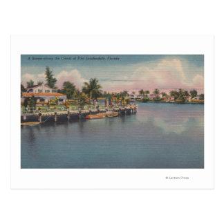 Ft. Lauderdale, Florida - Canal Scene Postcard