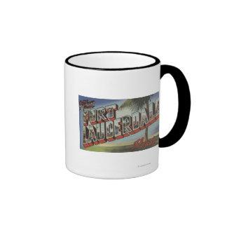 Ft. Lauderdale, Florida - Large Letter Scenes Ringer Coffee Mug