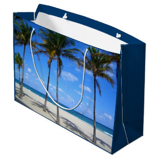 Ft Lauderdale Florida Sand Beach & Palm Trees Large Gift Bag
