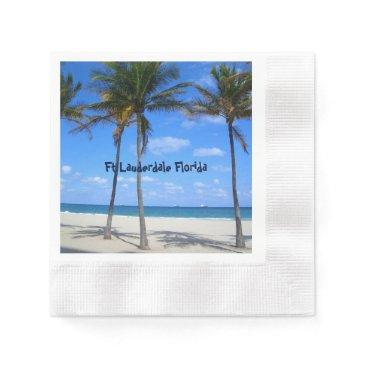 Ocean Themed Ft Lauderdale Florida Sand Beach & Palm Trees Napkin