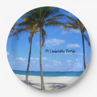 Ft Lauderdale Florida Sand Beach & Palm Trees Paper Plate