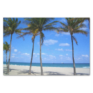 Ft Lauderdale Florida Sand Beach & Palm Trees Tissue Paper
