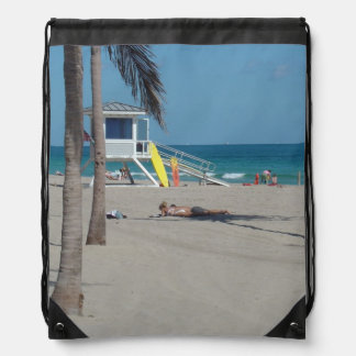 Ft Lauderdale Lifeguard Stand Drawstring Backpack