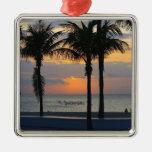 Ft. Lauderdale Sunrise Square Metal Christmas Ornament