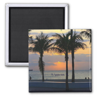 Ft. Lauderdale Sunset 2 Inch Square Magnet