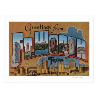 Ft. Worth, Texas - Large Letter Scenes Postcard