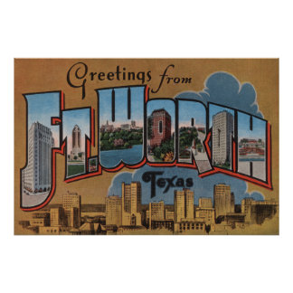 Ft. Worth, Texas - Large Letter Scenes Print