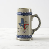 Ft Worth Texas State Map Star, Boots, Hat Stein