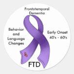 FTD, cinta frontotemporal de la conciencia de la Pegatina Redonda