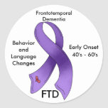 FTD, Frontotemporal Dementia Awareness Ribbon Classic Round Sticker