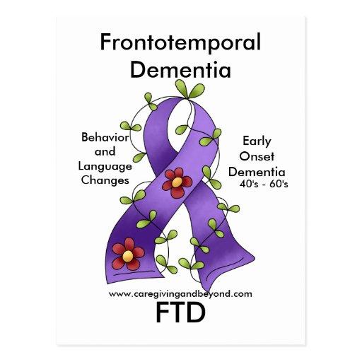 FTD, Frontotemporal Dementia Ribbon Postcard