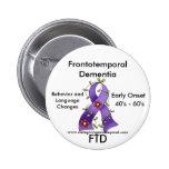 FTD, Pin púrpura de la cinta de la demencia fronto Pin Redondo 5 Cm