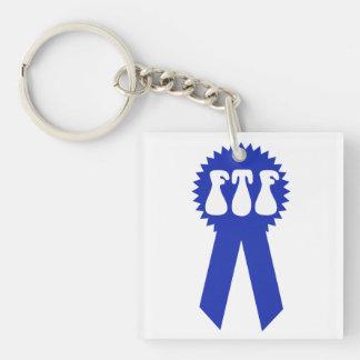 FTF Blue Ribbon Geocaching Keychain